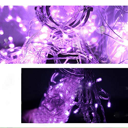 Lotus.flower 10 LED String Light,Waterproof Outdoor & Indoor Decorative Lights - Waterproof Fairy Light Copper Wire String Lights Base Lamp (Purple)