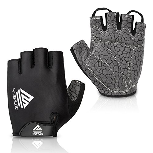 HTZPLOO Bike Gloves Bicycle Gloves Cycling Gloves Mountain Biking Gloves with Anti-Slip Shock-Absorbing Pad Breathable Half Finger Outdoor Sports Gloves for Men&Women (Black, Large)