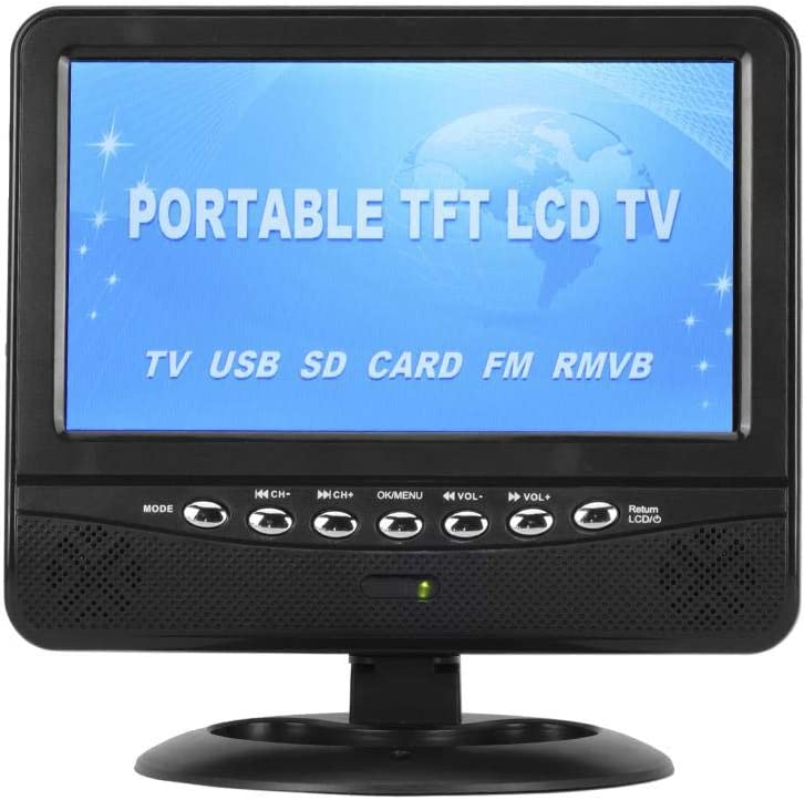 Focket TV Portátil para Automóvil, Mini Pantalla TFT LCD de Color Ultrafino de 7,5 Pulgadas HD TV Móvil Analógica Completa DVD Reproductor de Video Monitor, Sistema de TV PAL/NTSC/SECAM, Radio FM: Amazon.es: