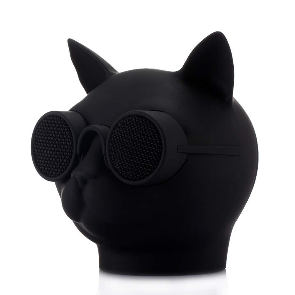yunbox299_スピーカー ラウドスピーカー ホーン 猫の頭の形 ワイヤレス Bluetooth ステレオ バス 音楽 スピーカー サウンド ブームボックス - ホワイト ブラック B07QLVKQLZ ブラック
