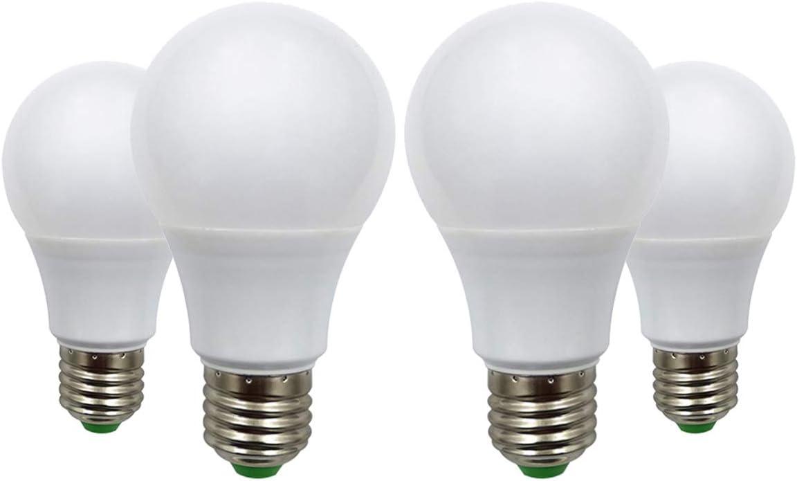 Bombillas LED E27, 12 V 5 W (A60 50 W, halógenas), bajo voltaje Edison Screw en las bombillas blanco cálido 2700 K, juego de 4