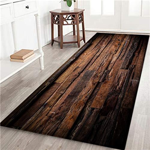 WONNA Geometric Wood Grain Printed Doormat Elegant Non Slip Entryway Rug for Living Rooms Carpet Easy Clean Floor Mat