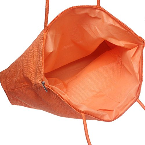 Color Tote Stylish Shopping Beach Bag Shoulder Vintage Straw Bags Orange Fashion Walking Travelling Creative Women Familizo Large ❤️ Colors Candy Bags Casual Straw Bag Multiple Simple Uqx18T
