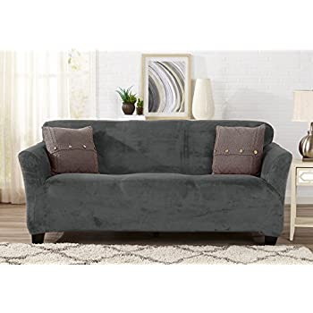 Modern Velvet Plush Strapless Slipcover  Form Fit Stretch  Stylish Furniture  Cover   Protector. Amazon com  Modern Velvet Plush Strapless Slipcover  Form Fit