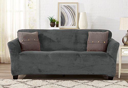 Modern Velvet Plush Strapless Slipcover. Form Fit Stretch, Stylish Furniture Cover / Protector. Gale Collection by Great Bay Home Brand. (Sofa, Wild Dove Grey) - Furniture Covers Soft Suede