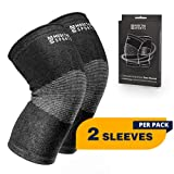 Modetro Sports Knee Compression Sleeve - Knee Support - Arthritis Knee Brace - Antimicrobial Bamboo Charcoal Fibers - Ideal for Joint Pain, Arthritis, Running and Sports - Men and Women
