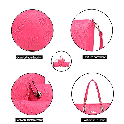 held Tisdaini Handbag Red Piece Hand 6 Wallet Fashion Bag Shoulder Bag Bag Rose Embossed Women's Messenger qEErAw4