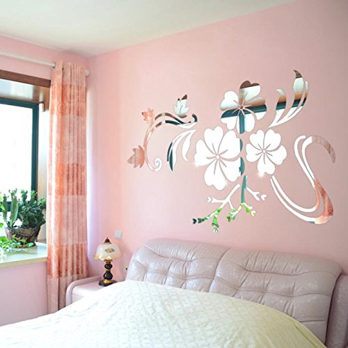 OTTATAT Wall Stickers for Girls 2019, 3D Mirror Vinyl Removable Wall Sticker Decal Home Decor Art DIY Sliver Easy to Stick Valentine's Day Club Gift for boy Free Deliver On Sale