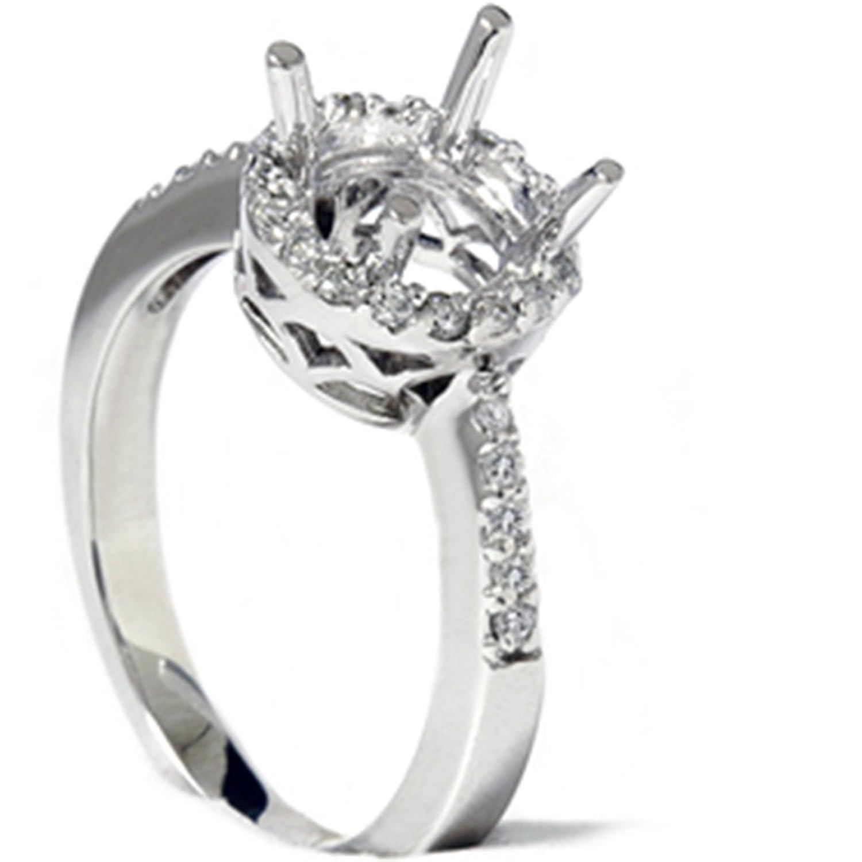 1 2ct Round Pave Diamond Halo Engagement Ring 14K Mount Setting