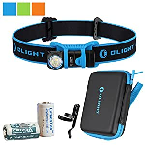 Olight H1 Nova 500 Lumen Lightweight LED Headlamp w/ Olight CR123A Battery and bonus LumenTac CR123A Battery (Blue, Cool White)