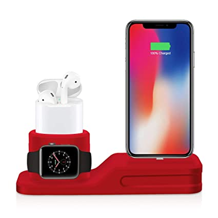 USSJ Phone Stand Charging Dock, 3 in 1 Premium Silicone Stand Compatible for Airpods &