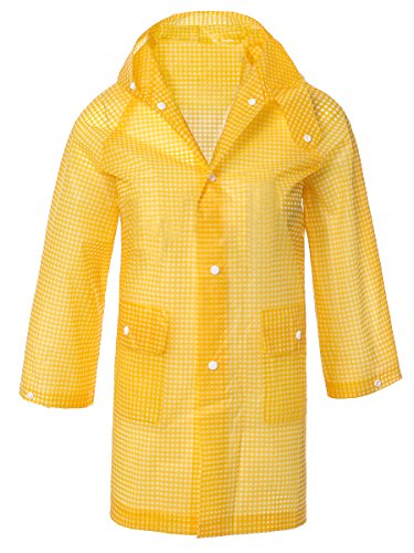 LINENLUX Waterproof Hooded Rain Poncho Jacket Coat for Kids with Pockets Yellow Medium Hooded Girls Raincoat