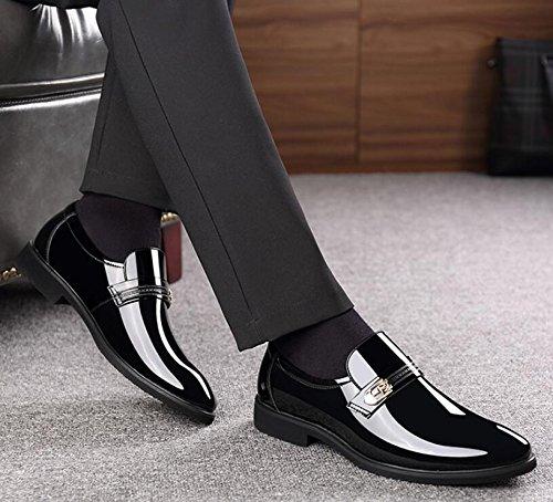 Hombres de de Calzan Hombres nuevos Koyi Respirable los Resbalón Cuero del de 1 Los los Cómodo de Brillantes el Desgaste Zapatos Black los Zapatos Casuales Negros Negocio Vestir de qX0T6CwxT