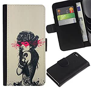 LECELL--Cuero de la tarjeta la carpeta del tirón Smartphone Slots Protección Holder For Apple Iphone 4 / 4S -- Tatuaje de Rusia Sexy Girl - Pin Up --