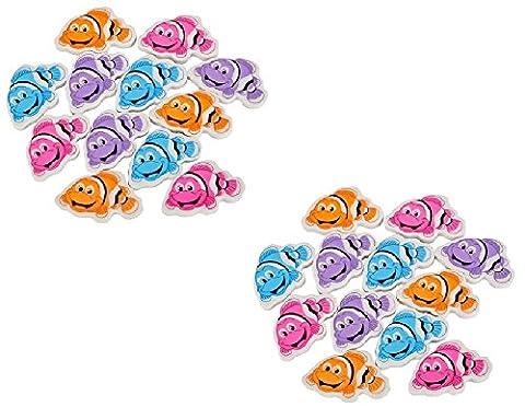 Novelty Treasures BEAUTIFUL Set of 24 COLORFUL Clown Fish Erasers (2 Dozen Clownfish Eraser Pack) - Fish Eraser