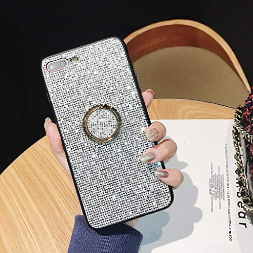 Amocase Full Diamond Case with 2 in 1 Stylus for iPhone XR 6.1 inch,Luxurious 3D Silver Square Bling Glitter Soft Rubber Bumper Crystal Hard Case with 360 Ring Holder
