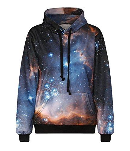 LoveLiness Blue Sky with Star Print Drawstring Hoodie Sweatshirt Large