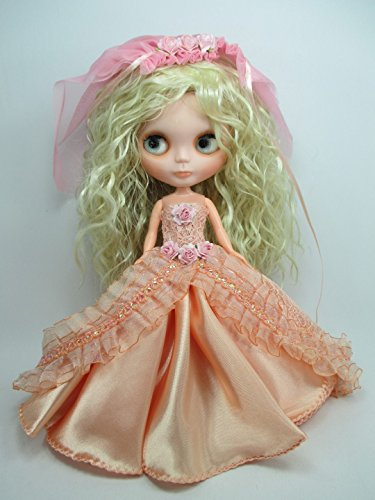 Handcrafted Outfit Clothes Costume Wedding Dress Gown with Veils for Blythe Doll