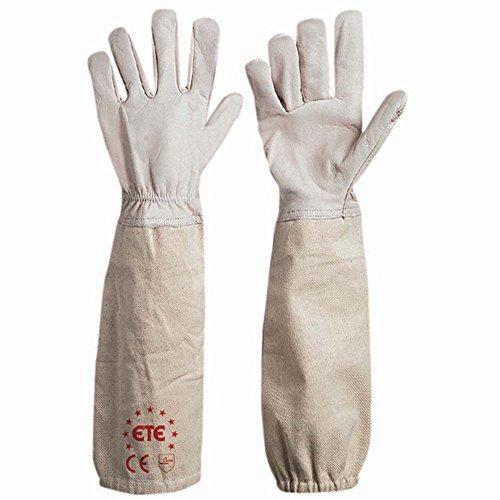 Guanti per apicoltori in fiore bovino bianco con manicotto in cotone con elastico taglia 7