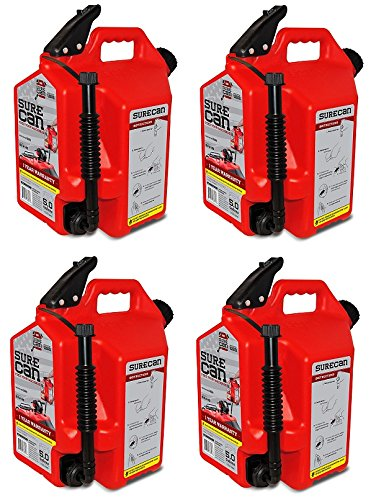 SureCan 5-Gallon RED Plastic Gasoline Fuel Can