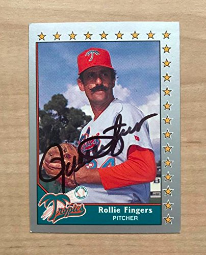 ROLLIE FINGERS WEST PALM TROPICS SIGNED AUTOGRAPHED 1990 PACIFIC CARD #161 W/COA Rollie Fingers Autographed Baseball