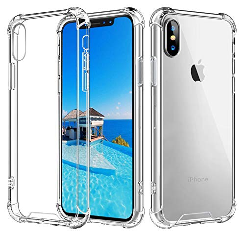 Vproof iPhone Xs Max Case, [Crystal Clear] Case Cover Slim Shock-Absorption with Corner Protective Bumper, Hard Clear PC Back Shell + Reinforced Soft TPU Frame for Apple iPhone Xs Max 6.5 Inch 2018