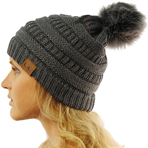cc-matching-fur-color-pom-pom-thick-stretchy-slouchy-chunky-knit-beanie-hat-dk-gray