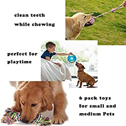 Bojafa Dog Toys 6 Pack Gift Set,Pet Dog Cotton Rope Toys Durable Chew Toy Set for Small and Medium Dogs