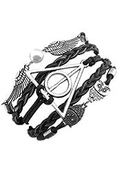 ELBLUVF Alloy Harry Potter Deathly Hallows Snitch Owl Black Synthetic Leather Bracelet