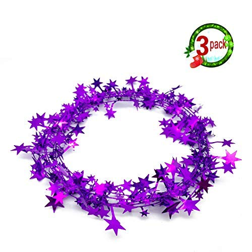 3PCS Star Garland Wire Garland Christmas Decorations Party Accessory,25 Ft x 3 (Purple)