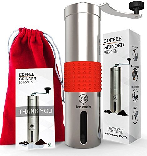 Manual Coffee Grinder with SILICONE GRIP -Professional Stainless Steel with Adjustable Ceramic Burr -Aeropress Compatible- Portable Coffee Mill for Consistency And Precision- FREE CARRYING POUCH