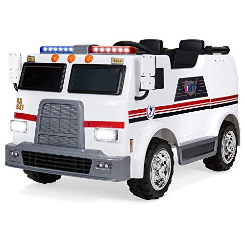 Best Choice Products 12V Kids Ambulance Ride On Truck Toy Emergency Vehicle w/ 2.4MPH Max Speed, Remote Control, USB Port, 2 Speeds, LED Lights, Realistic Siren, Intercom – White