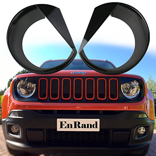 EnRand Front Light Bezel Headlight Cover Trim for Jeep Renegade 2015 2016 2017,Angry Birds Eye Style,Durable UV treated ABS,Upgrade Clip In Version