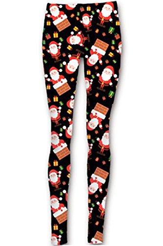 Be Jealous Femmes Noël Collant Femmes Rudolphe Père Noël Mur Jersey Arbre Cloches Jegging Pantalon - Père Noël Mur Noir, Grande taille (EU 48/50)