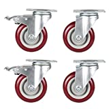 Dtemple Heavy Duty 4'' Swivel Caster wheels with Safety Dual Locking 360 Degree Furniture Caster (4 Pack)