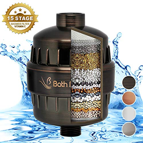 BathBeyond Shower Filter Vitamin C 15 Stage High Output Water Filter With cartridge for Hard Water - Shower Head Filter Removes Chlorine Fluoride and Improves The Condition of Your Skin, Hair