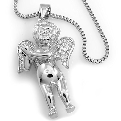 18k BABY ANGEL Pendant Piece with BOX chain, (Silver)