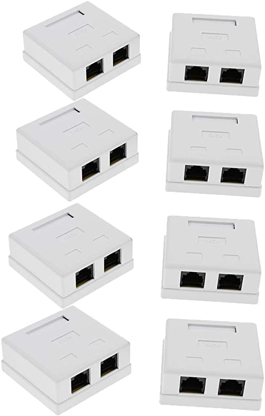 Gazechimp Caja Compacta De Montaje En Superficie De Pared De Cable De Red 8 Y 2 Puertos Cat6 RJ45: Amazon.es: Electrónica