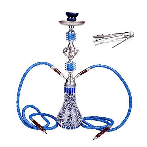 NOVESTE Hookah 55 cm - 21' Shisha Pipe Set Narghile + Two Sheesha Hoses...