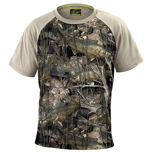 Fishouflage Walleye Fishing Shirt - Riptide Short Sleeve Performance Fishing Shirts for Men