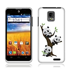 Fincibo (TM) ZTE Mustang Z998 Protector Cover Case Snap On Hard Plastic - Cute Pandas On The Tree, Front And Back
