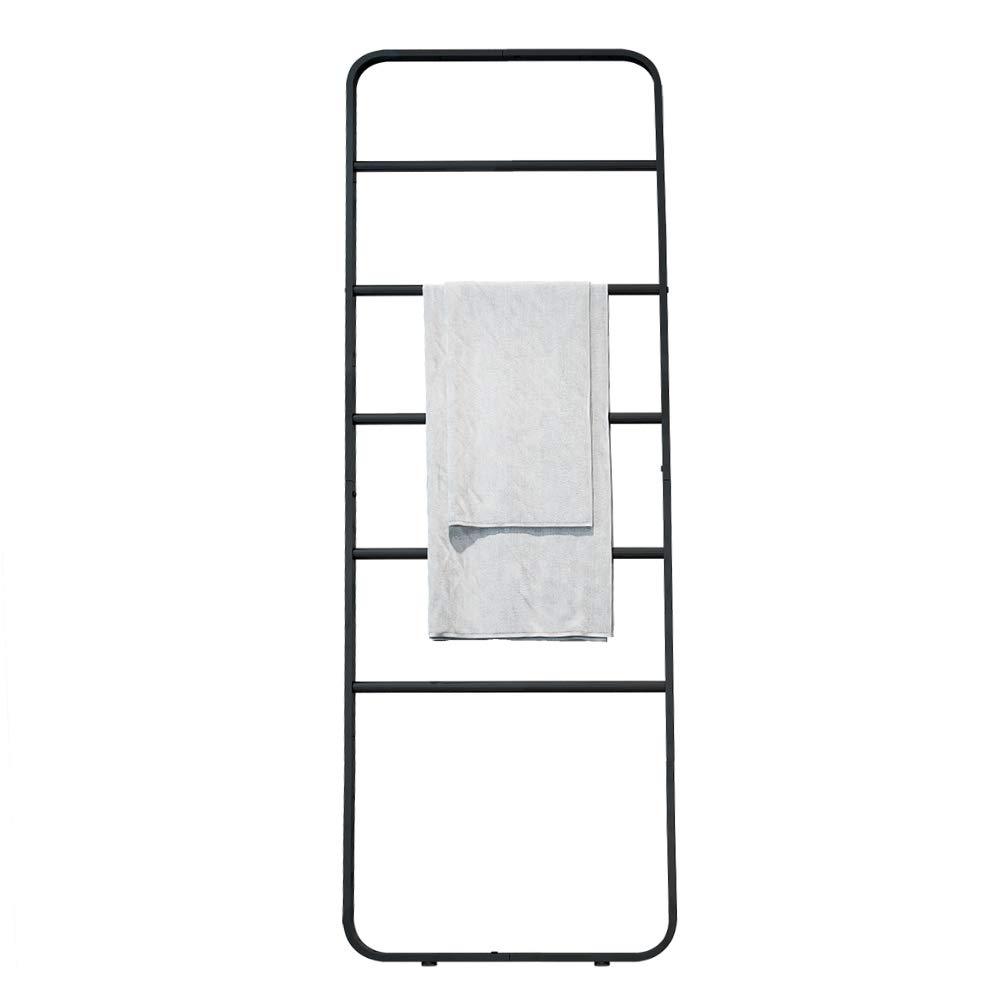 KINGBERWI Blanket Ladder Towel Shelves Scarves Display Holder Leaning Ladder Rack, Black