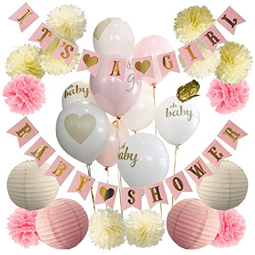 Baby Shower Decorations For Girl - Baby Shower Decorations: Its a Girl & Baby Shower Banner, Baby Girl Shower Decorations Kit with Banners, Balloons, Pom Poms and Lanterns - Pink, Gold & White