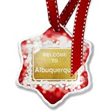 Christmas Ornament Yellow Road Sign Welcome To Albuquerque, red - Neonblond