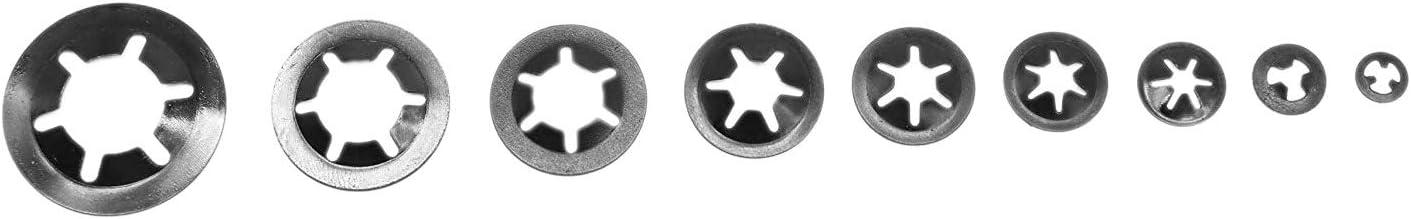 Vaorwne 260Pcs M2-M12 Zahn Starlock Push-On Sicherungsscheiben Speed ??Clips Befestigungen Sortiment Quick Speed ??Sicherungsscheiben