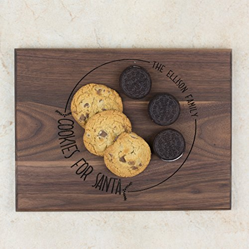 Personalized Wood Family Christmas Plate - Cookies for Santa - Circular Holly Design