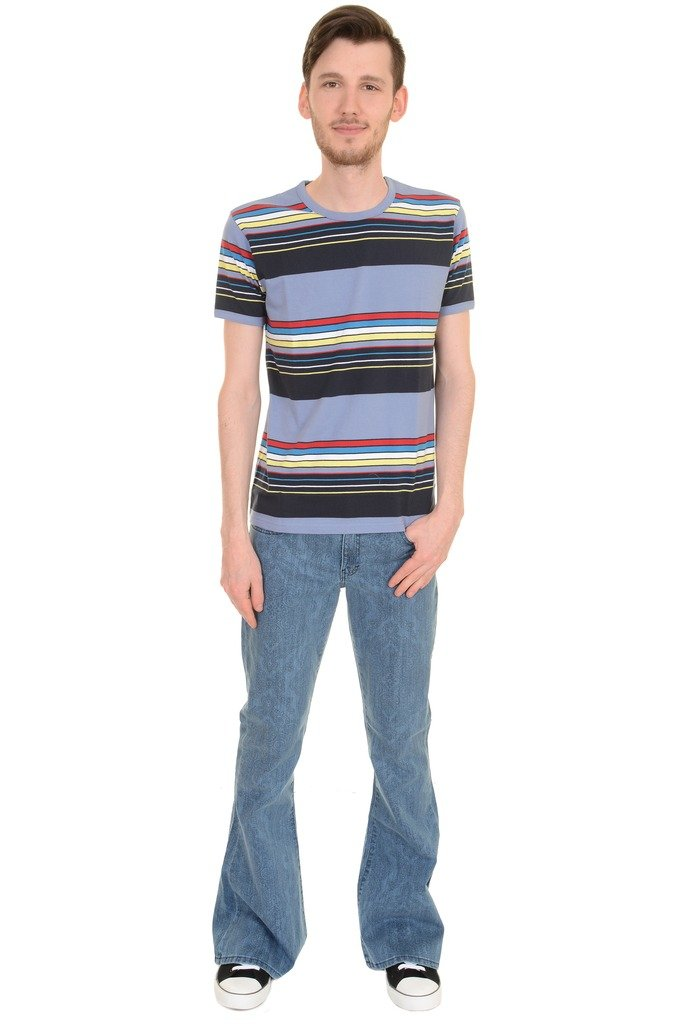 1960s -1970s Men's Clothing Run & Fly Mens 60s 70s Retro Repeat Striped T Shirt AUD 21.34 AT vintagedancer.com