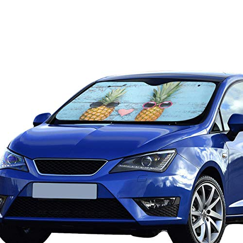 XL Sun Shade Windshield Happy Pineapple Couples with Funny Gestures Refective Sun Visor Universal Fit Front Keep Car Vehicle Cool Heat Reflector Sedans SUV Truck 55