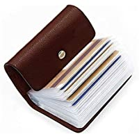 OFIXO 24 Bits Leatherite Business Card Holder ID/Visiting/Debit/Credit Card Holder Case Card (Dark Brown-999)