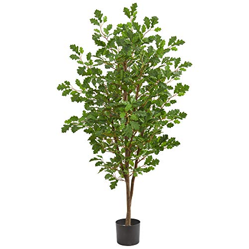 Nearly Natural 9177 5' Oak Artificial Silk Trees Green ()